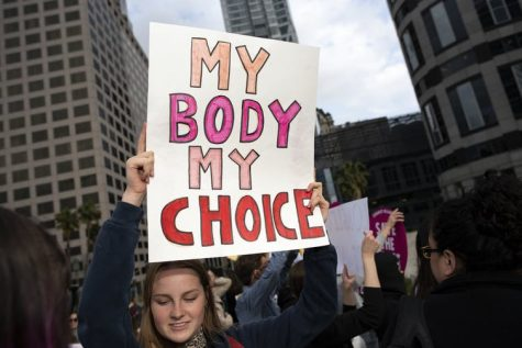 Protester holding a my body my choice sign at a demonstration